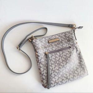 Tommy Hilfiger Canvas Silver Grey Crossbody Bag